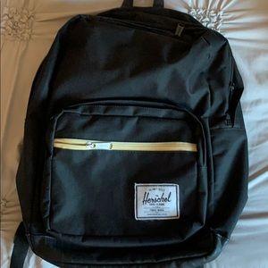 Herschel black leather bottom backpack